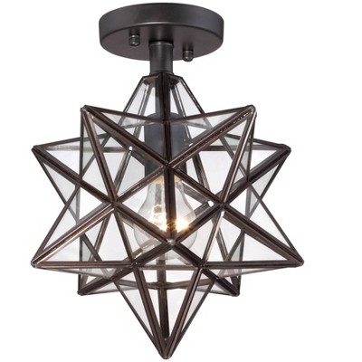 """Franklin Iron Works Modern Semi Flush Mount Ceiling Light Fixture Black Iron Star 11"""" Wide Clear Glass for Bedroom Living Room"""
