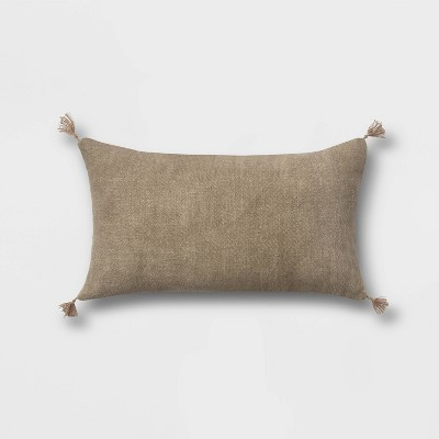 Washed Linen Lumbar Throw Pillow with Tassels Sage - Threshold™