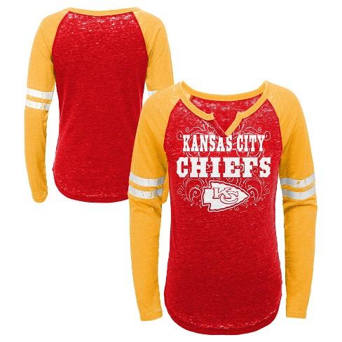 461607c1 NFL Kansas City Chiefs Girls' Fashion Team Alt Color Burnout Long Sleeve  T-Shirt