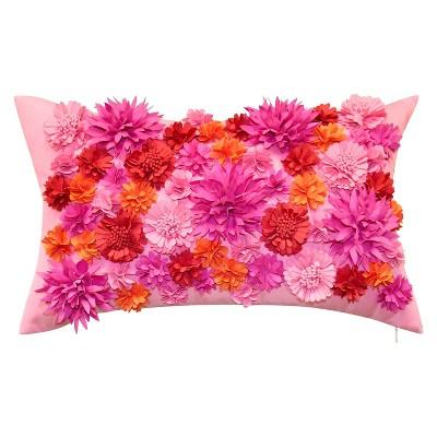 "20"" x 12"" Floral Bouquet Dimensional Decorative Lumbar Patio Throw Pillow - Edie@Home"