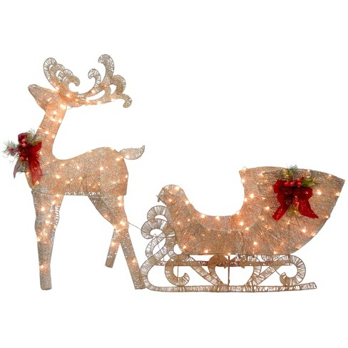 Reindeer and Santa's Sleigh with LED Lights - National Tree Company - image 1 of 1