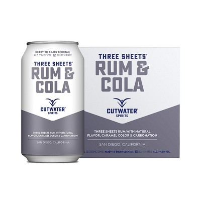 Cutwater Three Sheets Rum and Cola Cocktail - 4pk/12 fl oz Cans