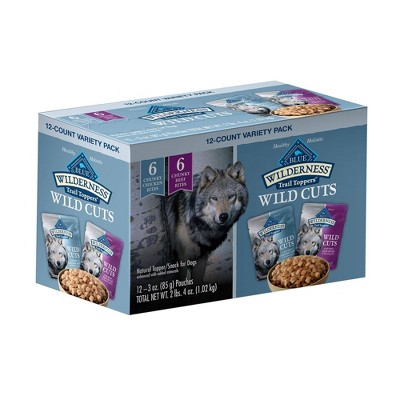 Blue Buffalo Wilderness Grain Free Wild Cuts Chicken & Beef Flavors Wet Dog Food Topper - 3oz/12ct Variety Pack