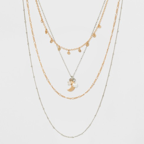 Multi Row Mixed Chain with Star and Moon Charm Necklace - image 1 of 3