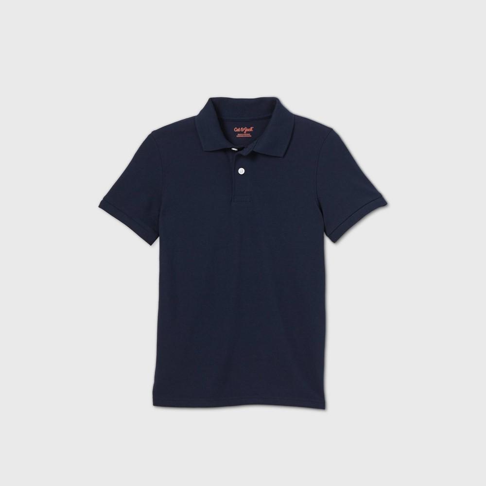 oversizeBoys Short Sleeve Stretch Pique Uniform Polo Shirt - Cat & Jack Navy XXL Husky Blue