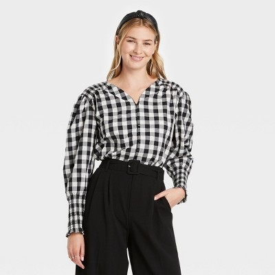 Women's Long Sleeve Smocked Poplin Top - A New Day™