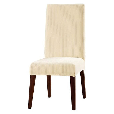 Stretch Pinstripe Short Dining Room Chair Cover Cream - Sure Fit
