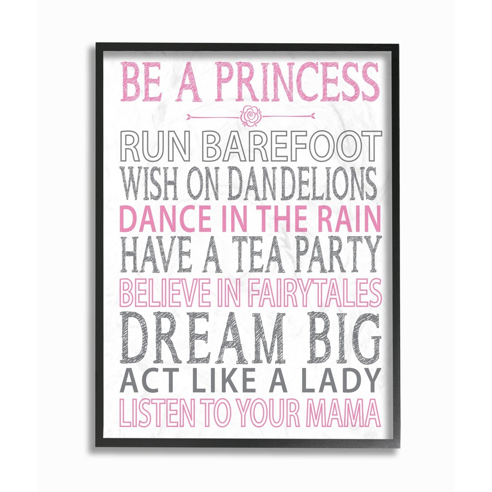 Be a Princess Pink Typog Oversized Framed Giclee Texturized Art (16