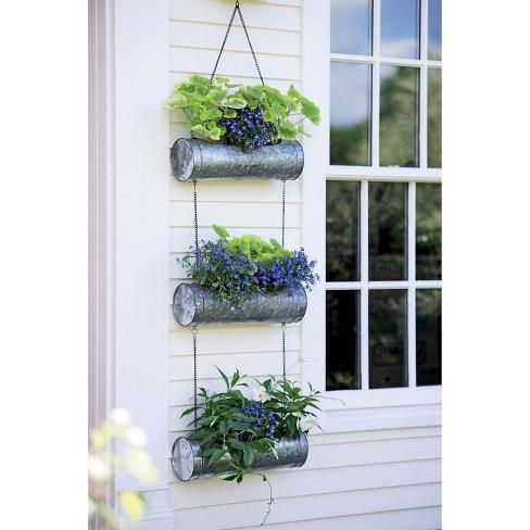 Galvanized Hanging Triple Planter - Gardener's Supply Company - image 1 of 4