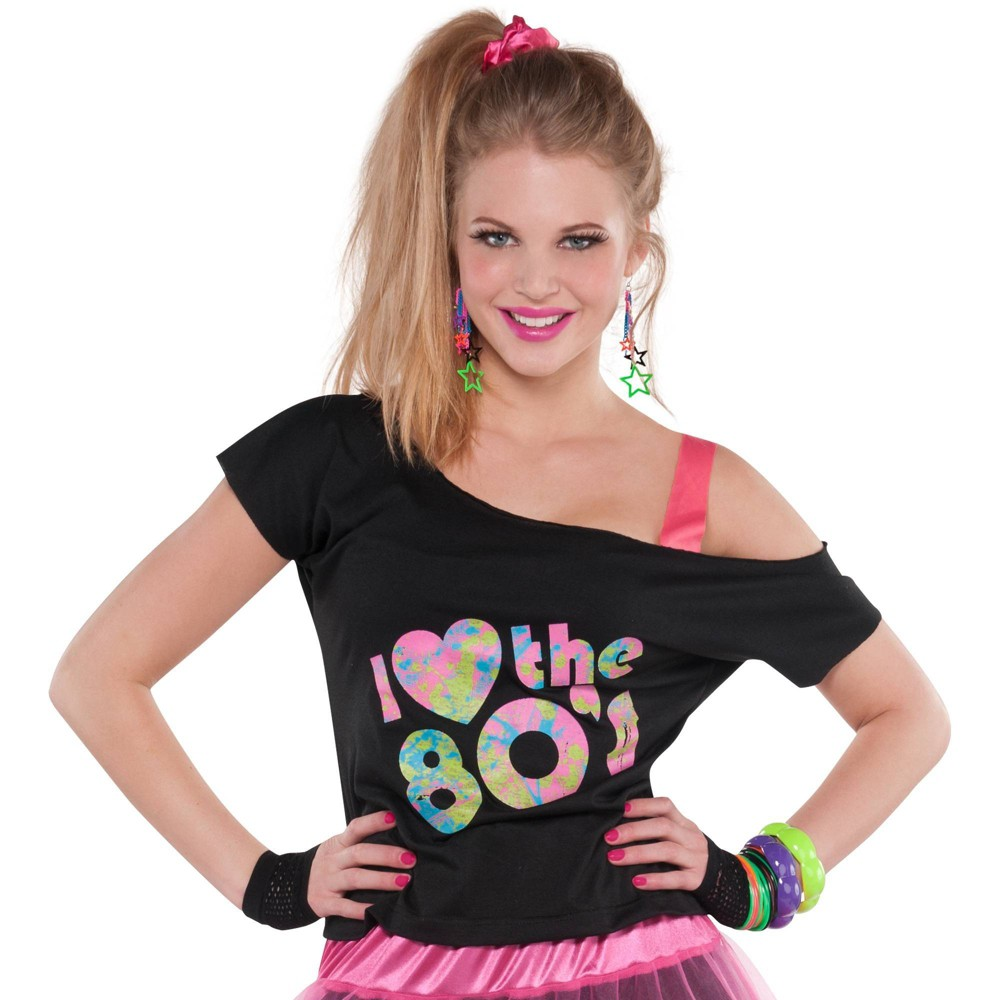 Adult Love The 80s T Shirt Halloween Costume S M