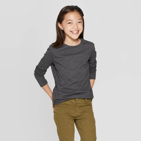 Girls' Crew Neck Long Sleeve T-Shirt - Cat & Jack™ - image 1 of 3