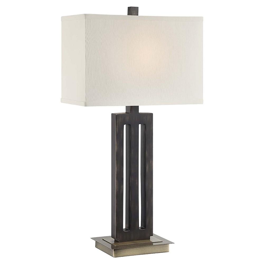 Lite Source Wyman 1 Light Table Lamp - Antique Brass/Dark Bronze, Brown/Off White