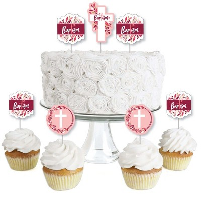Big Dot of Happiness Baptism Pink Elegant Cross - Dessert Cupcake Toppers - Girl Religious Party Clear Treat Picks - Set of 24
