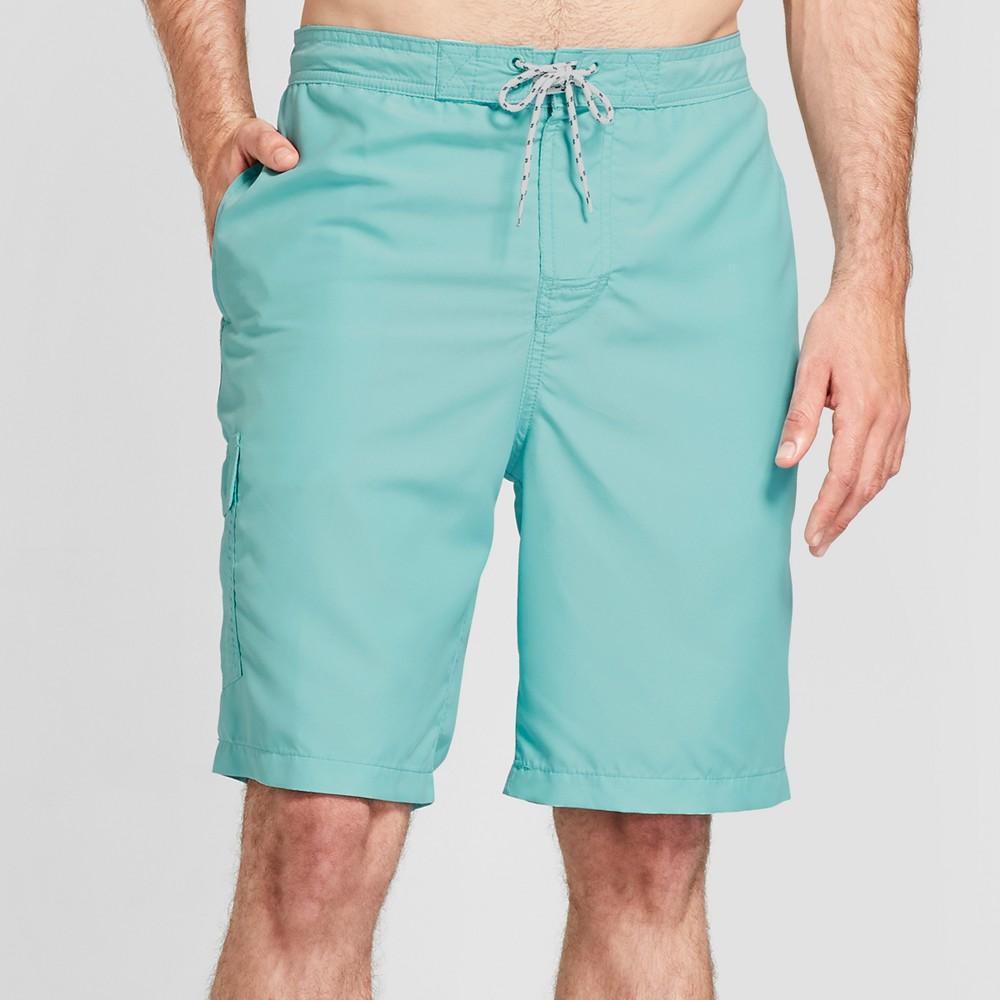 Men's 9 Board Shorts - Goodfellow & Co Aqua Bead M, Blue