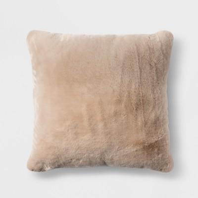 Short Faux Fur Euro Pillow Tan - Threshold™