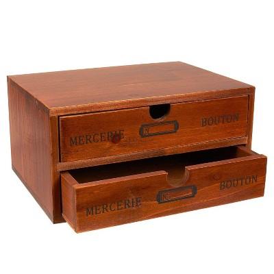 "Juvale Small Wood Desktop Organizer Storage Box with Drawers, French Design (9.75x7x5"")"