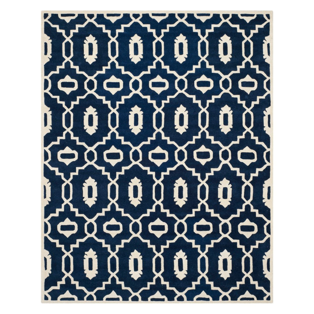 8'X10' Geometric Area Rug Dark Blue/Ivory - Safavieh