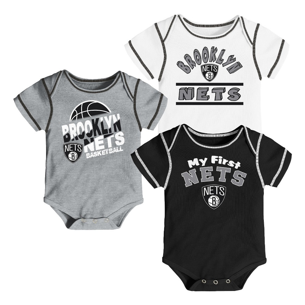 Brooklyn Nets Boys' Rookie 3pk Body Suit Set 12 M, Size: 12M, Multicolored