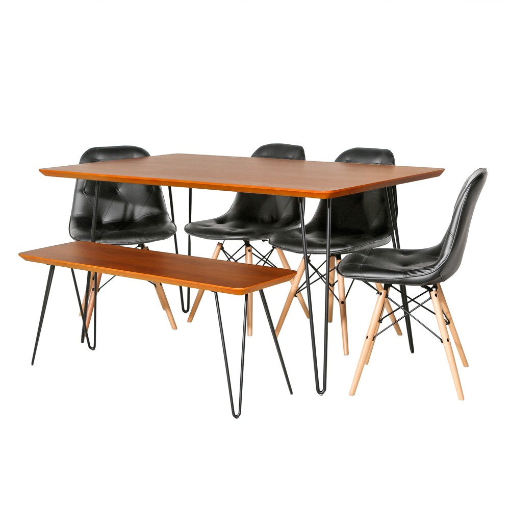 6pc Square Hairpin Dining Set With Eames Chairs Walnut/Black (Brown/Black) - Saracina Home