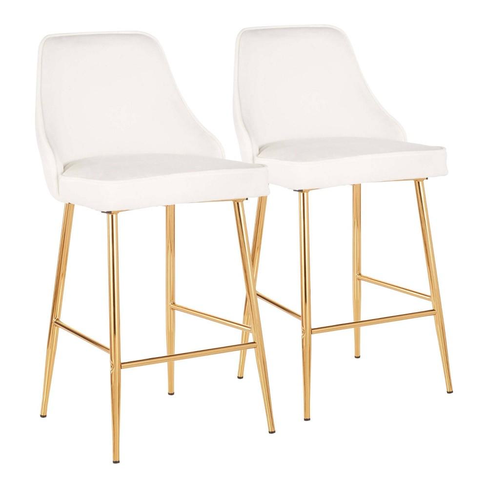 Set of 2 Marcel Contemporary Glam Counter Stool Gold/White Velvet - LumiSource