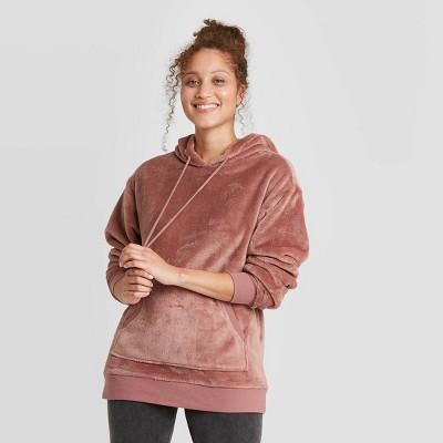 Women's Faux Fur Lounge Tunic Sweatshirt - Colsie™ Purple XL