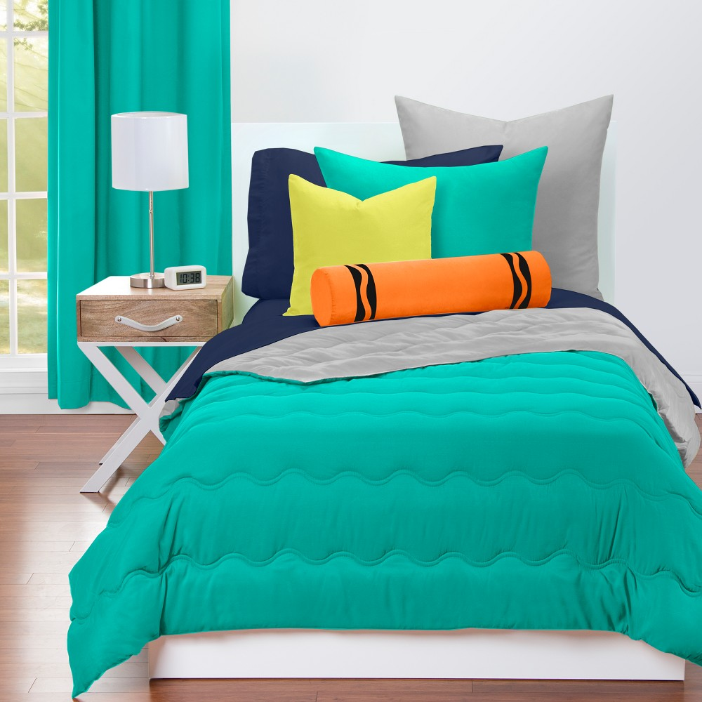 Crayola Tranquil Teal Comforter Sets (Twin), Gray Green