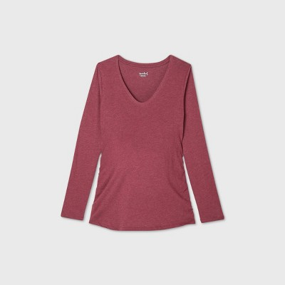 Maternity Long Sleeve Scoop Neck Side Shirred T-Shirt - Isabel Maternity by Ingrid & Isabel™