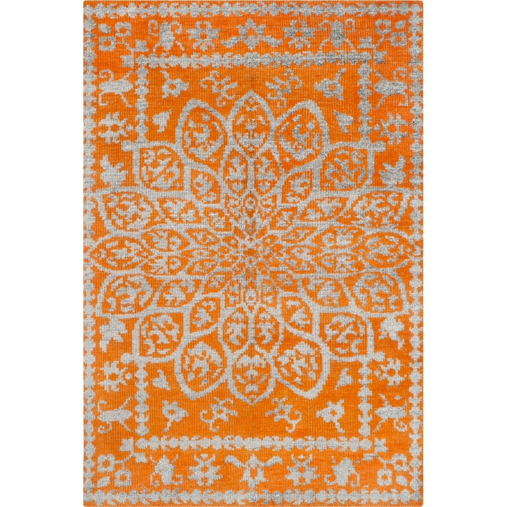 5'X8' Medallion Knotted Area Rug Copper/Light Gray - Safavieh, Brown