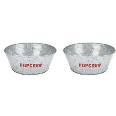 Mind Reader Galvanized Popcorn Bowl, Silver - 2 Pack