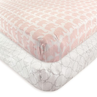 Hudson Baby Infant Girl Cotton Fitted Crib Sheet, Elephant, One Size