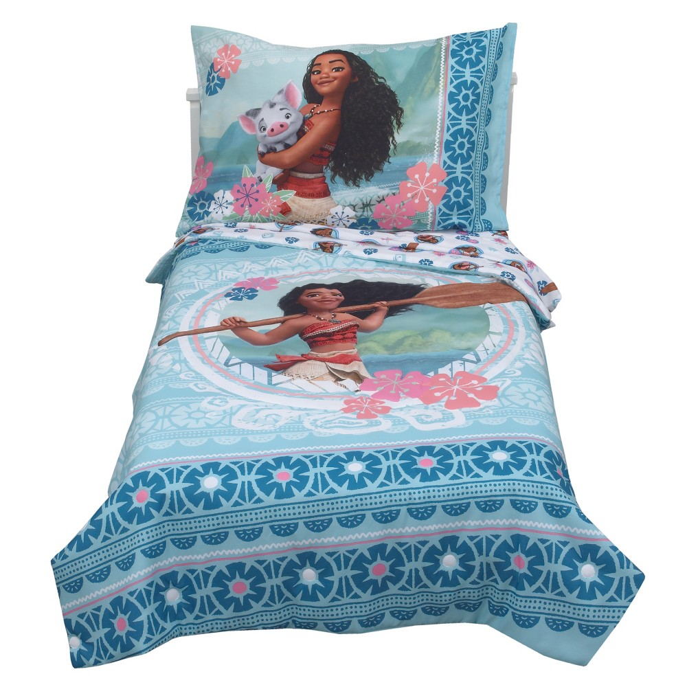 Image of Moana 4pc Toddler Bedding Set Aqua (Blue)