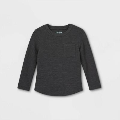 Toddler Boys' Ottoman Knit Long Sleeve T-Shirt - Cat & Jack™ Charcoal Gray 12M
