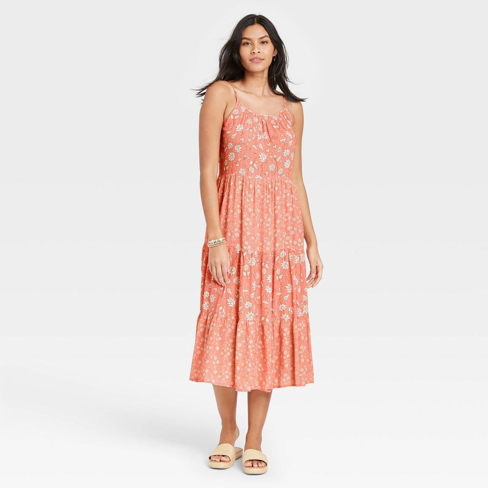 Women 39 S Floral Print Sleeveless Tiered Dress Universal Thread 8482 Coral Xl