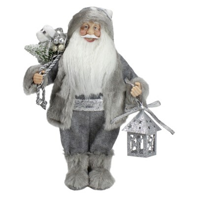 """Northlight 12"""" Gray and White Standing Santa Claus Christmas Figurine with Bag and Lantern"""