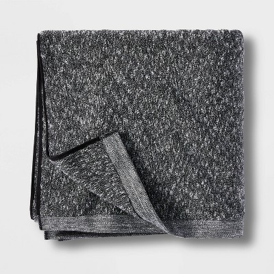 Slub Accent Organic Bath Towel Black - Casaluna™