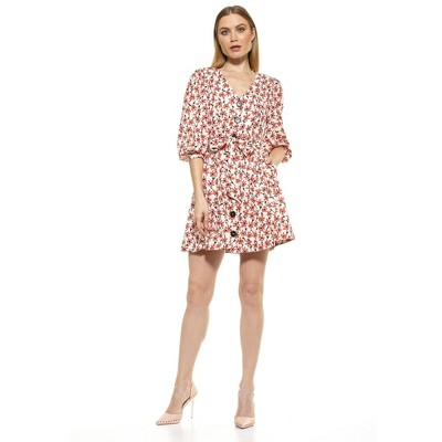 Alexia Admor Adriana V Neck Button Down Dress