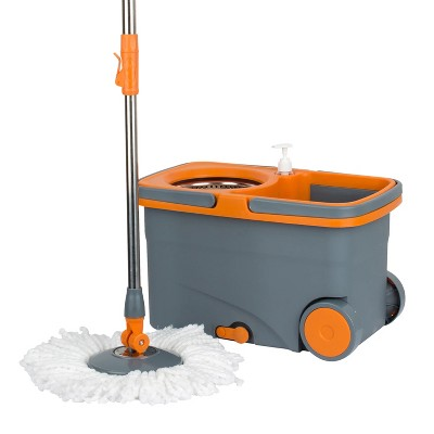 Casabella 8585333 Spin Cycle Kitchen Bathroom Home Office Mop with Bucket and Built In Soap Dispenser, Orange