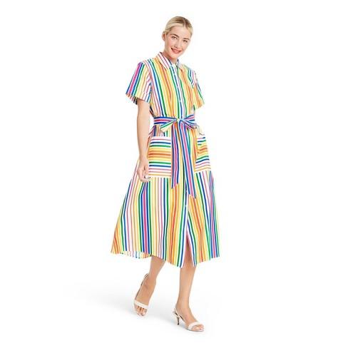 Striped Short Sleeve Shirtdress - Christopher John Rogers for Target 0