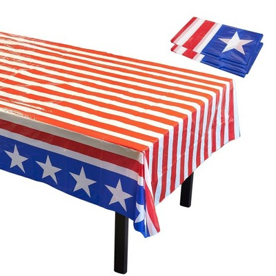 """Blue Panda 3-Pack Disposable Plastic Tablecloth Table Covers American Flag Party Supplies 54"""" x 108"""""""