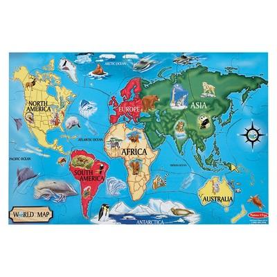 Melissa And Doug World Map Jumbo Floor Puzzle 33pc