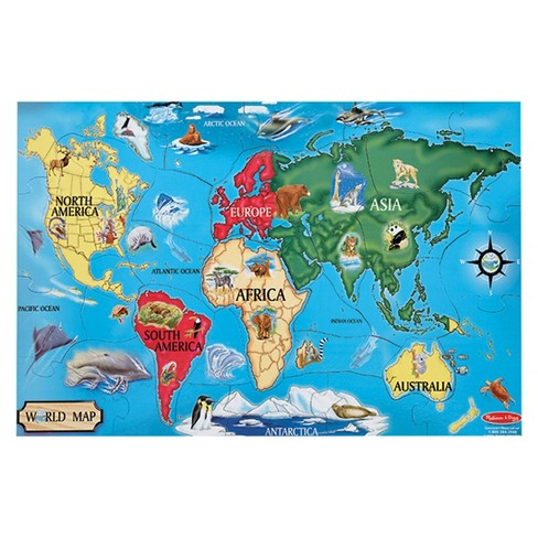 Melissa & Doug® World Map Jumbo Jigsaw Floor Puzzle (33pc, 2 X 3 ...