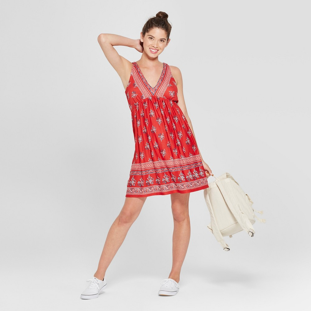 Image of Women's Floral Print Tie Back Dress - 3Hearts (Juniors') Red L, White Red Blue