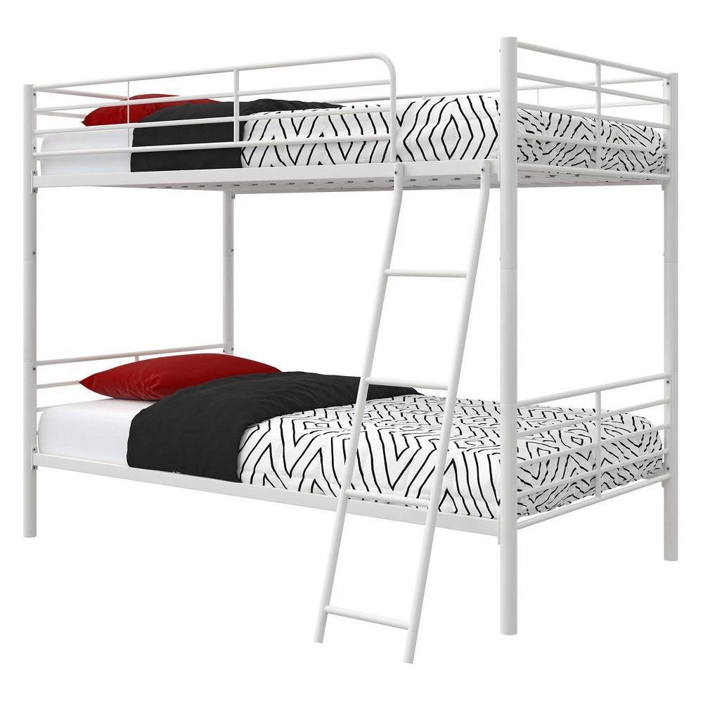 Room & Joy Convertible Twin Over Twin Metal Bunk Bed White