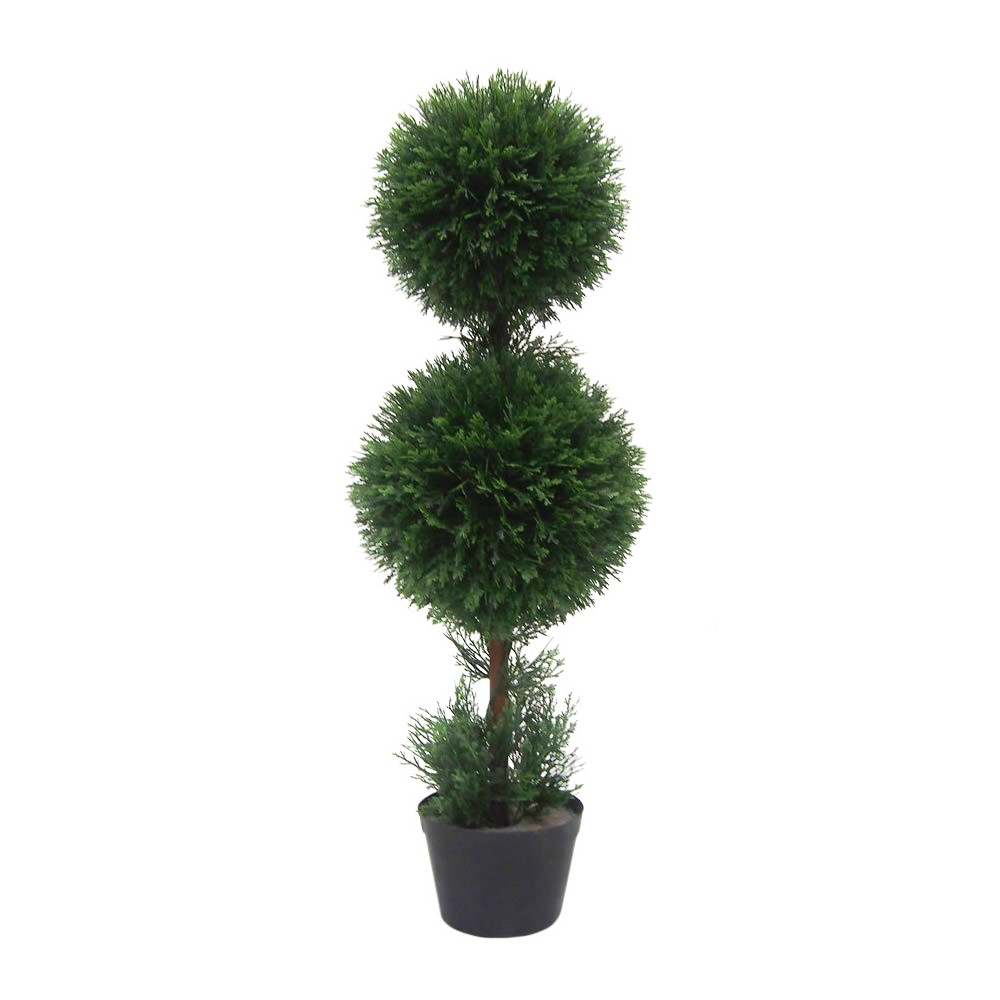 Artificial Cedar Double Balls In Pot (UV) (3ft) Green - Vickerman