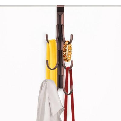 Lynk Over Door Hook Rack Jewelry Organizer Vertical 6 Hook Rack - Bronze