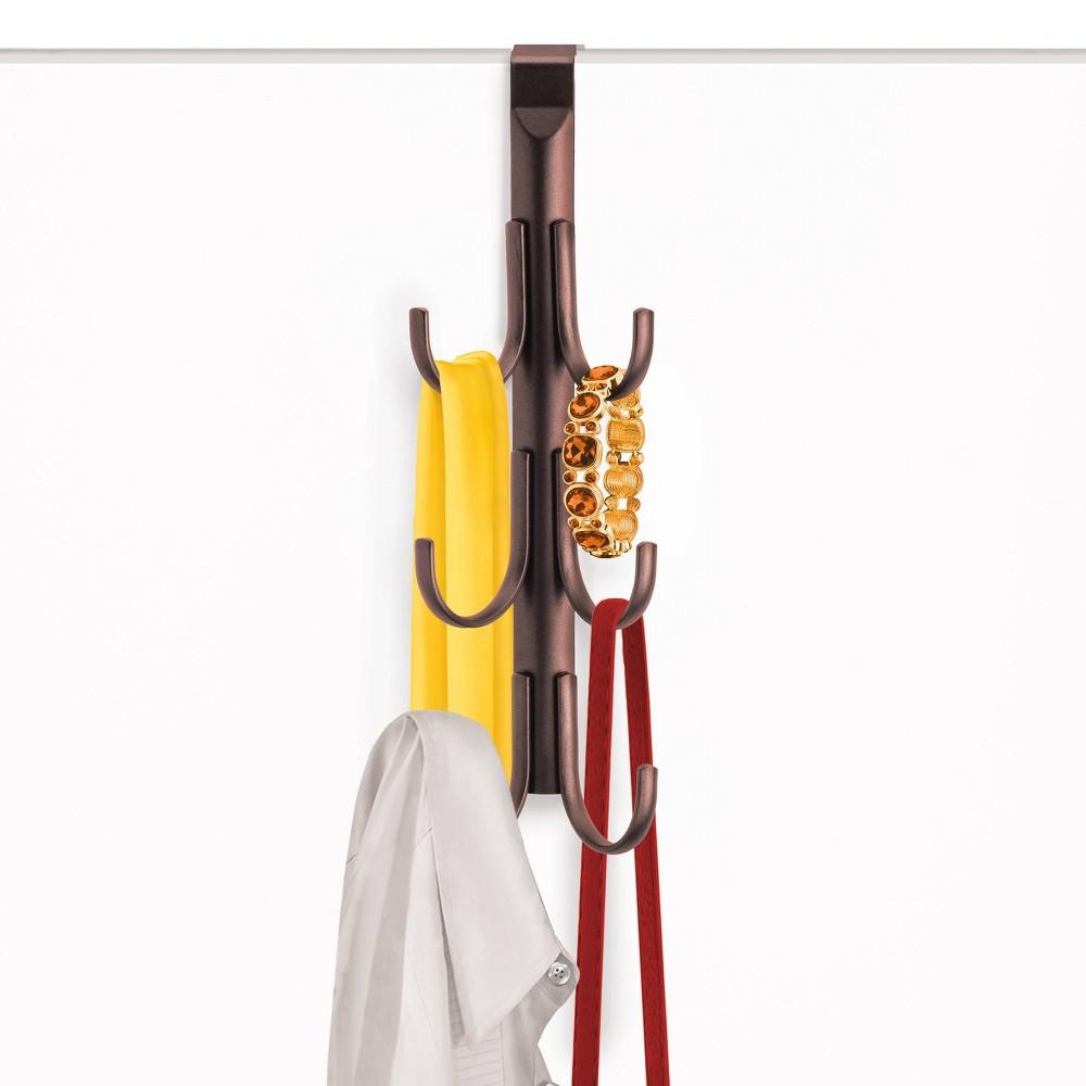 Image of Lynk Over Door Hook Rack Jewelry Organizer Vertical 6 Hook Rack - Bronze