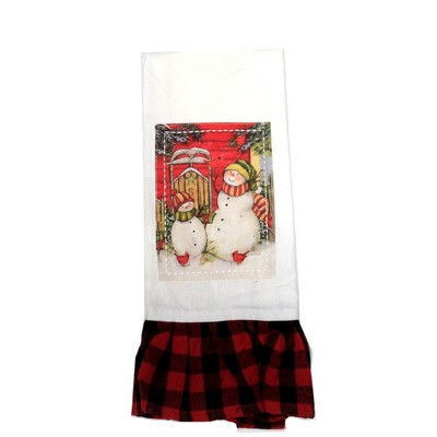 "Tabletop 28.0"" Sledding Snowmen Tea Towel Christmas Red Birds Cooking Brownlow Gifts  -  Kitchen Towel"