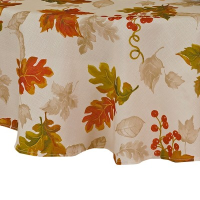 Swaying Leaves Allover Print Fall Tablecloth - Ivory - Elrene Home Fashions