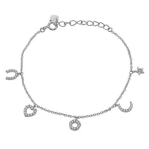 "1/2 CT. T.W. Round-cut Cubic Zirconia Charm Pave Set Bracelet in Sterling Silver - Silver (8"") - image 1 of 2"