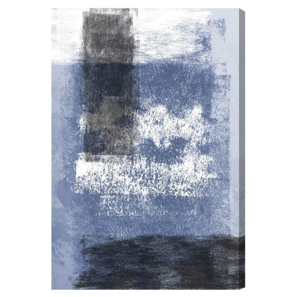 "Image of ""Oliver Gal Unframed Wall """"Evolving Present Indigo Charcoal"""" Canvas Art (24x16), Black Blue"""